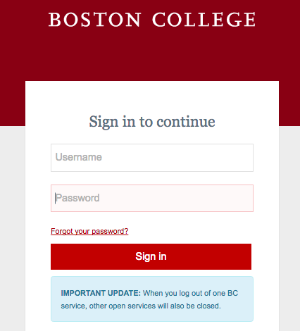 Boston College login