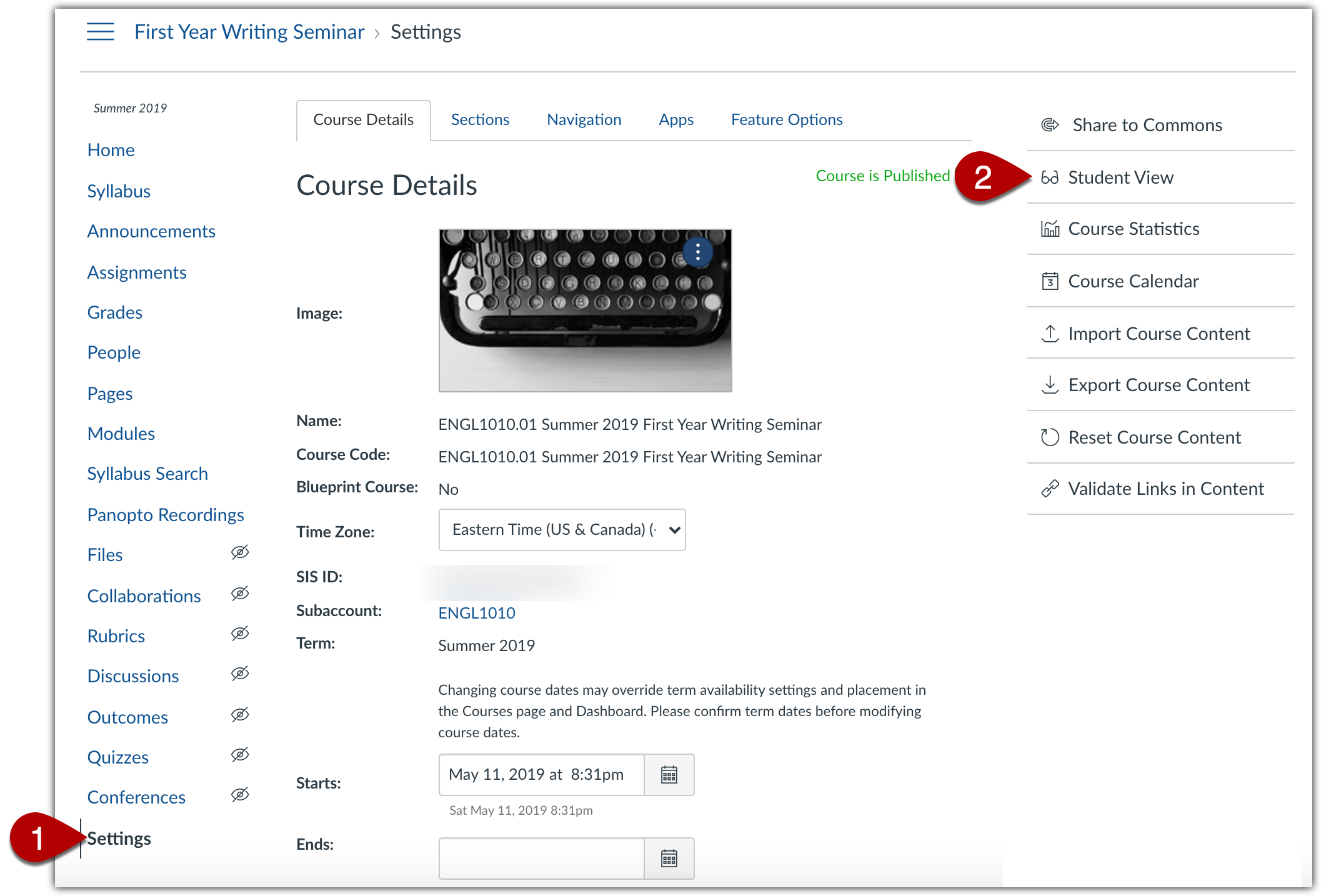 "Canvas settings page and ""Student View"" link"