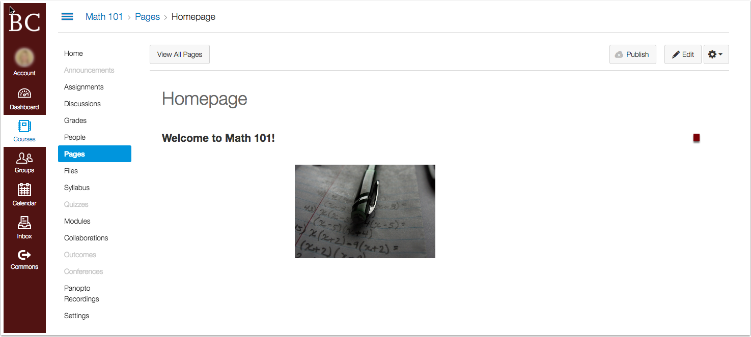 "A sample home page with text reading ""Welcome to Math 101!"" and an image"
