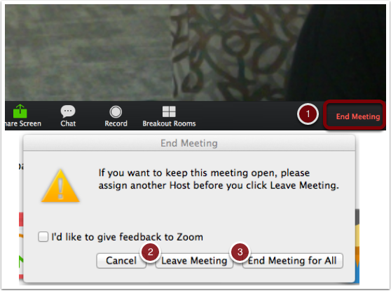 End meeting options