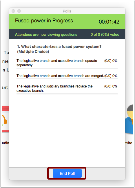 Screenshot of poll in progress showing time elapsed, the poll question, and multiple answer options with percentage of class that has answered next to each option. the blue End Poll button on the bottom of the window is emphasized.