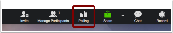 Image of black toolbar at bottom of Zoom meeting screen with polling icon emphasized.