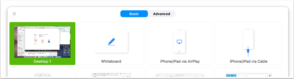 Image of pop up window with several square thumbnails named 'Desktop', 'Whiteboard', 'Iphone/Ipad via Airplay' and 'Iphone/Ipad via Cable'. The 'Desktop thumbnail has been selected and is green, while the other thumbnails are white.
