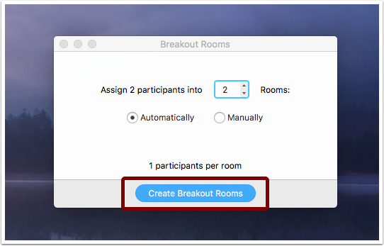 Detail of pop-up for creating breakout rooms.