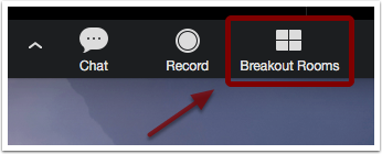 Detail of black toolbar with Breakout Room icon emphasized with an arrow pointing to it