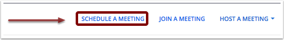 Screenshot of top right of zoom.us homepage with Schedule a Meeting emphasized with an arrow pointing towards it