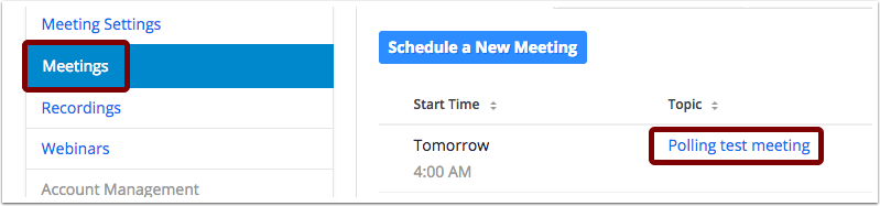 Screenshot of Zoom account page with Meetings selected in blue on the righthand side and the title of a scheduled meeting selected on the left