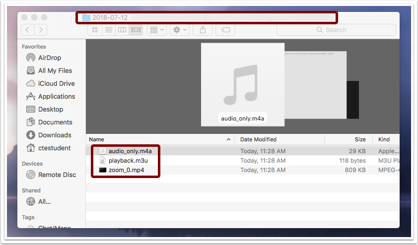 Image showing Finder window where recorded Zoom meetings can be saved