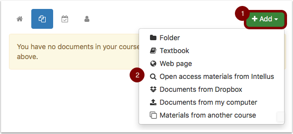 "Documents page with ""Add"" dropdown box opened"