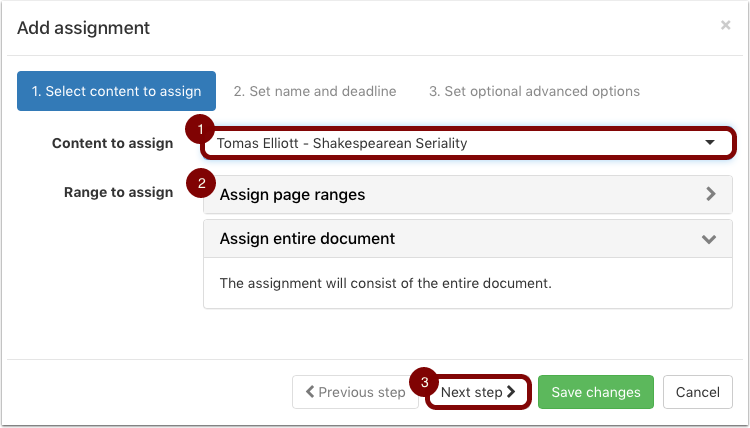 "First page of the ""Add Assignment"" popup, with an assignment selected and whole document page range selected"