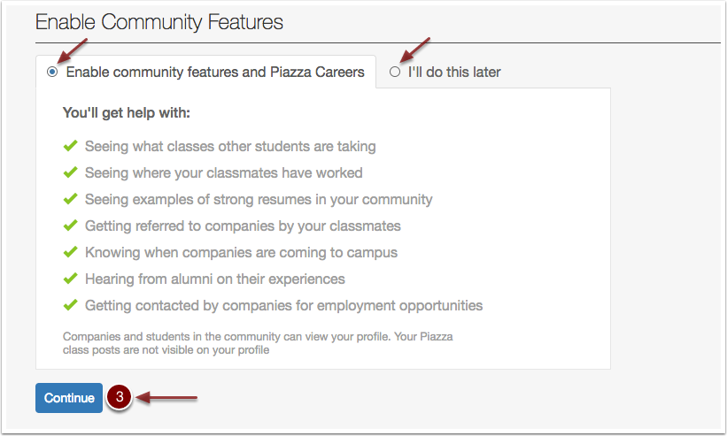 Screenshot showing the option of whether or not to enable the community features.