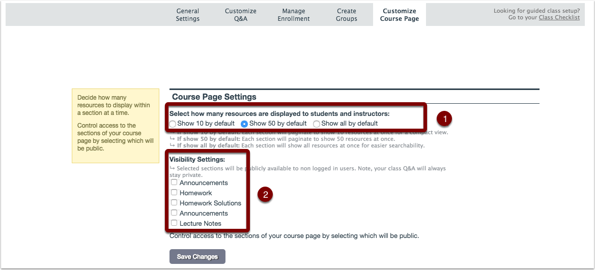 Screenshot showing the course page settings