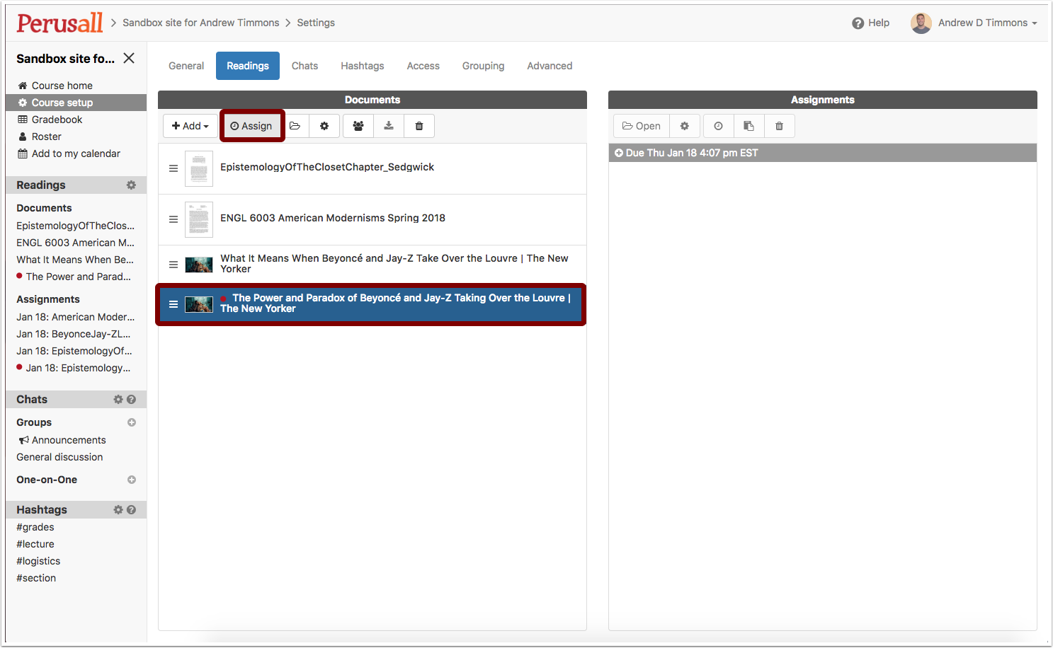 """Screenshot showing one how to select the web-page once it has been processed and clicking """"Assign"""" to begin the process of making it an assignment."""