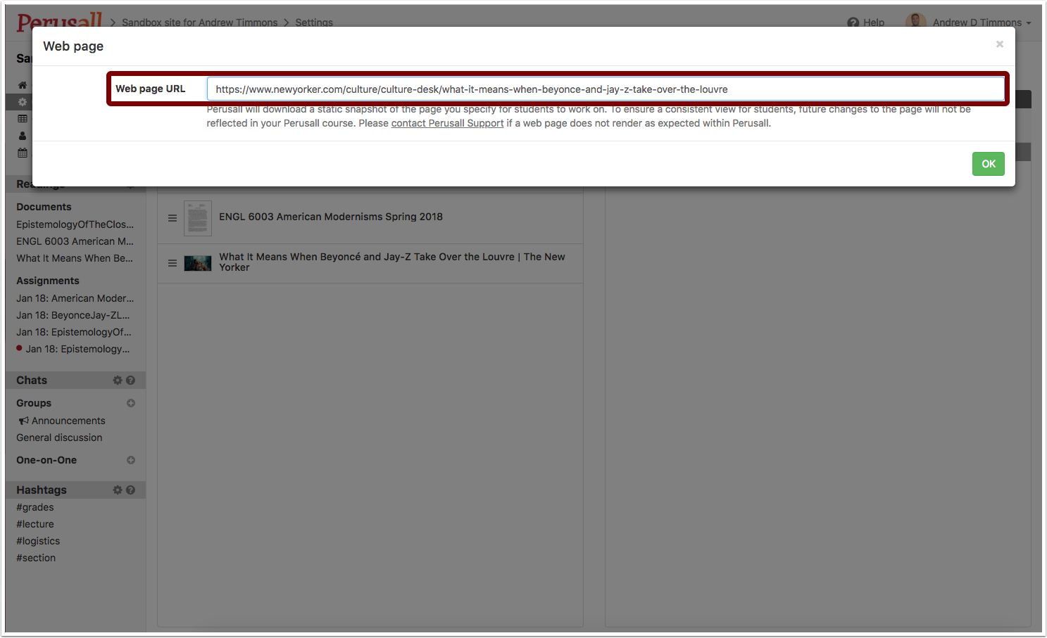 """Screenshot showing where one will enter the """"Web Page URL"""" for the web page one wants to assign."""