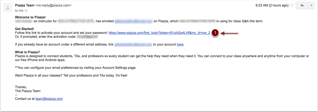 Screenshot showing the welcome email from Piazza.