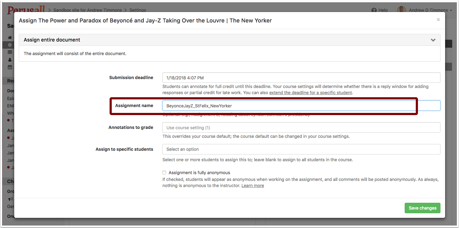 """Screenshot showing the """"Assignment"""" details, where one will name the assignment and select due dates."""