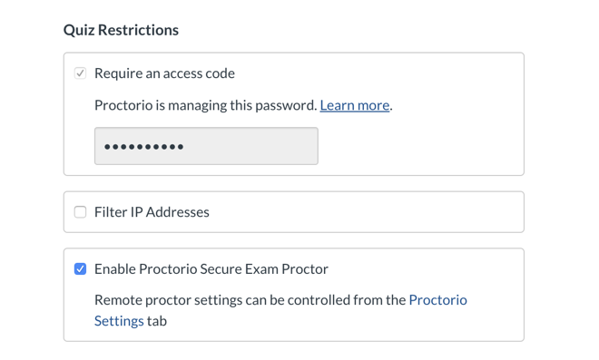 "Canvas Quiz Restrictions menu with ""Enable Proctrio Secure Exam Proctor"" option selected and ""Require an access code"" automatically selected"