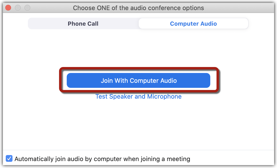 """Zoom audio selection window with """"Join with Computer Audio"""" button highlighted."""