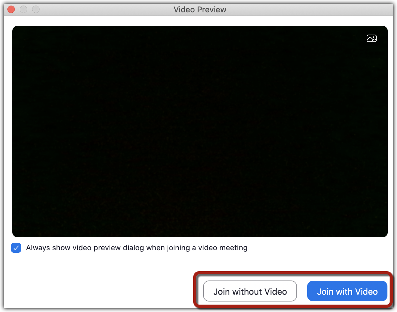 "Zoom video preview window with the ""Join without Video"" and ""Join with Video"" buttons highlighted."