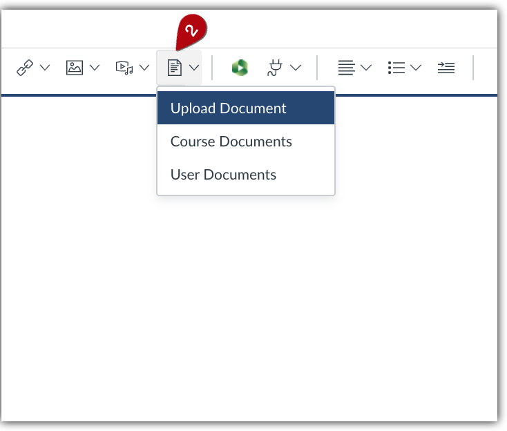 Insert document from document icon.