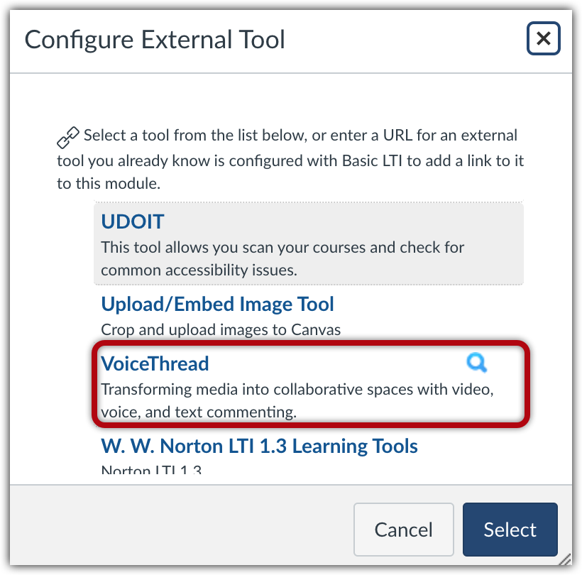 """Configure External Tool menu with """"VoiceThread"""" highlighted"""