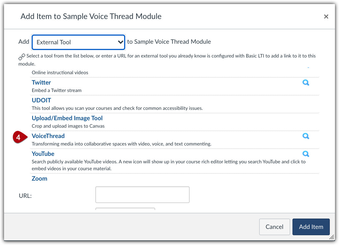 """List of external tools in alphabetical order with """"VoiceThread"""" highlighted"""