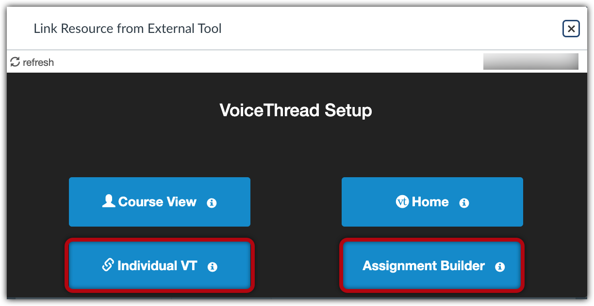 """Voicethread setup menu with """"Individual VT"""" and """"Assignment Builder"""" options highlighted"""