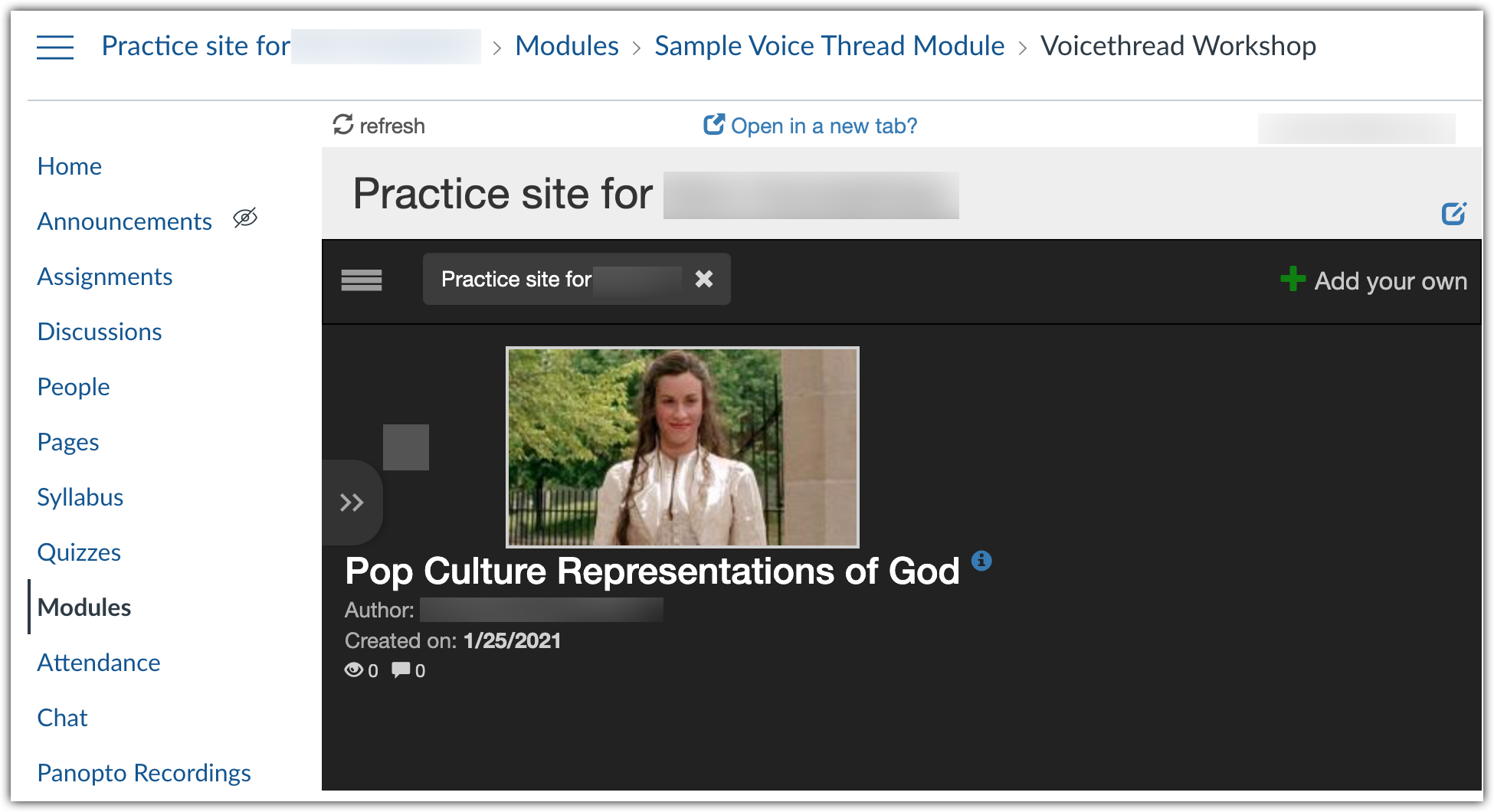 Voicethread Course View integrated in Canvas