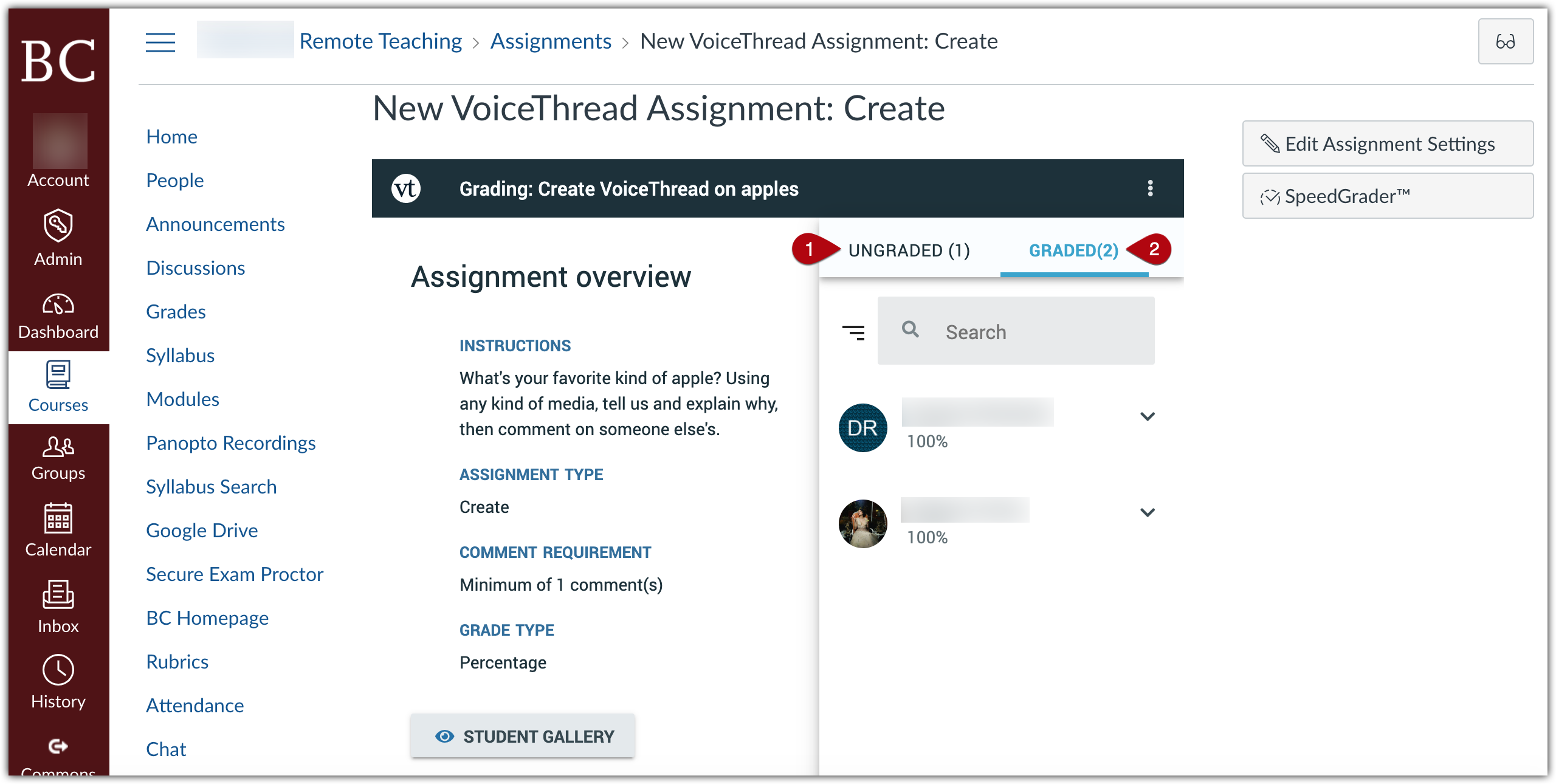 """Voicethread grading interface in Canvas. """"Assignment Overview"""" appears on the left, including assignment instructions, type, comment requiretments, and grade type. On the righthand side, student submissions are divided into an """"ungraded"""" tab and a """"graded"""" tab."""
